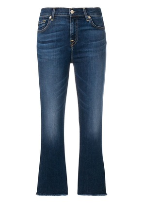7 For All Mankind frayed stonewashed bootcut jeans - Blue
