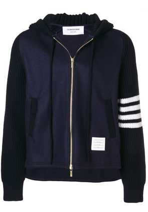 Thom Browne ribbed knit hooded jacket - Blue