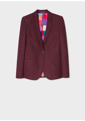 Women's Burgundy Cotton-Blend Flannel Blazer