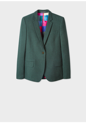 Women's Forest Green Cotton-Blend Flannel Blazer