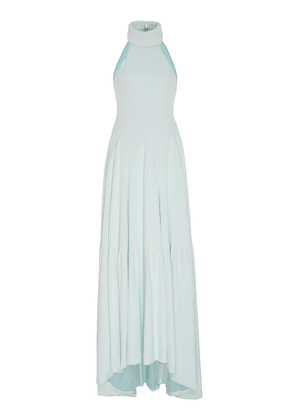 Brandon Maxwell Pintucked Crepe Godet Gown