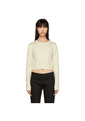 Saint Laurent Off-White Cropped Fisherman Sweater