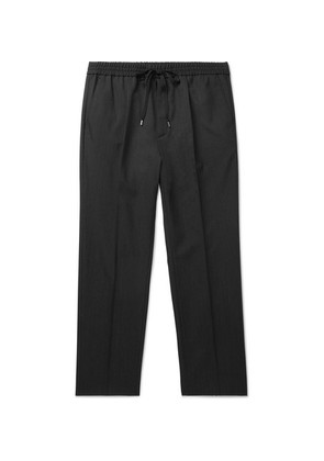 Gucci - Charcoal Cropped Wool Drawstring Trousers - Gray