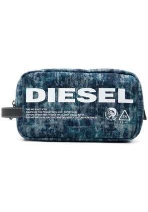 Diesel zipped pouch in lasered denim - Blue