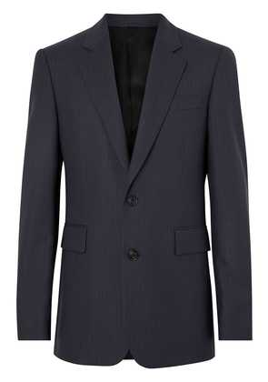 Burberry Classic Fit Pinstripe Wool Tailored Jacket - Blue