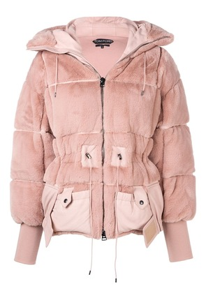 Tom Ford faux beaver padded bomber-jacket - Pink