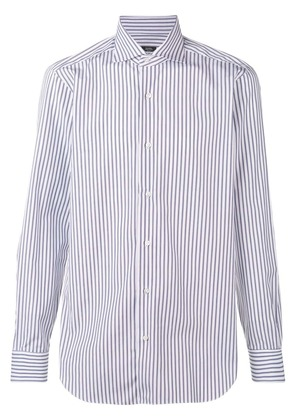 Barba striped point-collar shirt - Blue