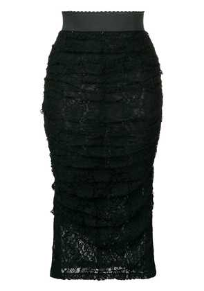 Dolce & Gabbana ruffled lace skirt - Black