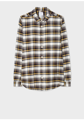 Men's Tailored-Fit Black And Yellow Check Cotton Shirt