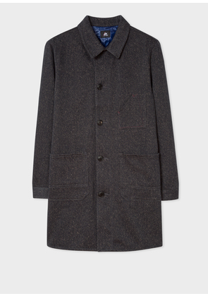 Men's Red Ear Charcoal Cotton Mac With Flecked Details