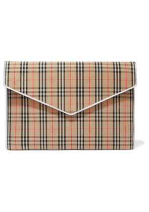Burberry - Leather-trimmed Checked Cotton-drill Clutch - Beige