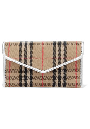 Burberry - Leather-trimmed Checked Drill Cardholder - Beige