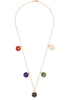 Foundrae - 18-karat Gold, Diamond And Enamel Necklace - one size