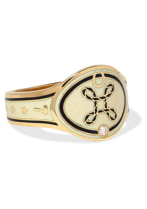 Foundrae - True Love 18-karat Gold, Diamond And Enamel Ring - 7
