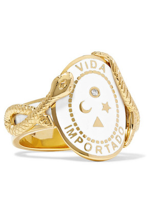 Foundrae - Wholeness 18-karat Gold, Diamond And Enamel Ring - 7