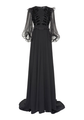 Andrew Gn Embroidered Silk-Blend Gown
