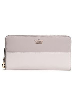 Kate Spade New York Woman Two-tone Textured-leather Continental Wallet Light Gray Size -