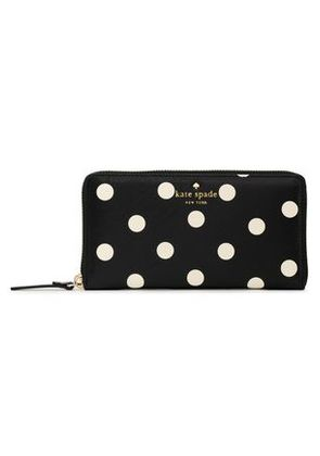 Kate Spade New York Woman Lacey Polka-dot Faux Textured-leather Wallet Black Size -