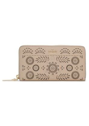 Kate Spade New York Woman Laser-cut Textured-leather Continental Wallet Neutral Size -