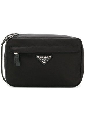 Prada logo plaque wash bag - Black