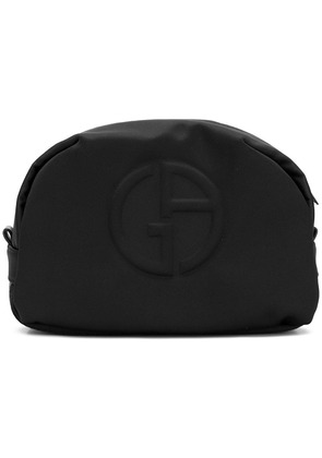 Giorgio Armani embossed logo wash bag - Black