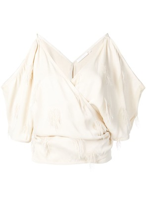 Helmut Lang fil coupé cold shoulder top - Neutrals