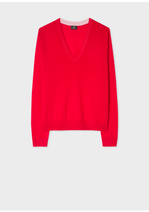 Women's Red Contrast V-Neck Wool Sweater