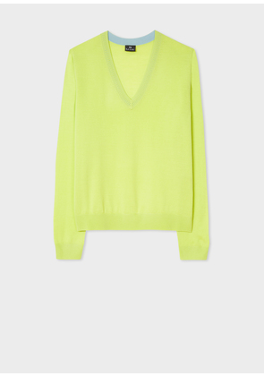 Women's Lime Green Contrast V-Neck Wool Sweater