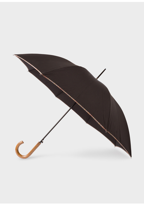 Black Signature Stripe Border Walker Umbrella With Wooden Handle
