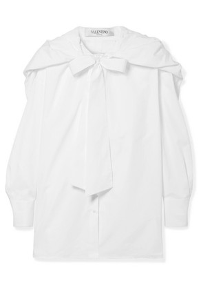 Valentino - Hooded Pussy-bow Silk-trimmed Cotton-poplin Shirt - White