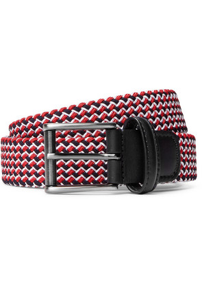 Anderson's - 3.5cm Leather-trimmed Woven Elastic Belt - Red