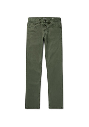 Faherty - Slim-fit Stretch-cotton Twill Trousers - Gray green