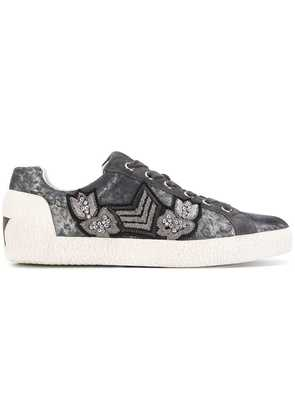 Ash embellished lace-up sneakers - Grey