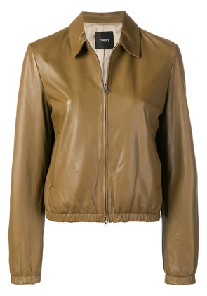 Theory zipped leather jacket - Brown