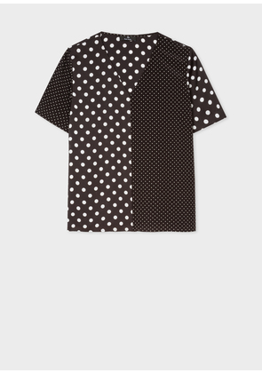 Women's Black And White Polka Dot V-Neck Top