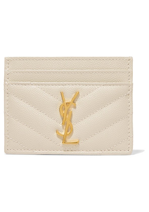 Saint Laurent - Quilted Textured-leather Cardholder - Cream