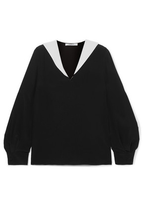 Givenchy - Two-tone Silk-crepe Blouse - Black