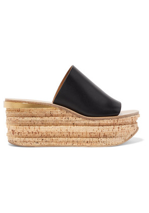 Chloé - Camille Leather Wedge Sandals - Black