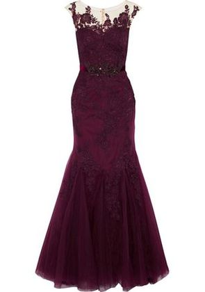 Badgley Mischka Woman Embellished Tulle And Corded Lace Gown Plum Size 0