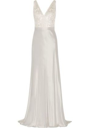 Catherine Deane Woman Olivia Embroidered Satin Gown Silver Size 10