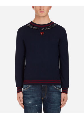 Dolce & Gabbana Knitwear - CREW NECK KNIT IN WOOL WITH PATCH BLUE