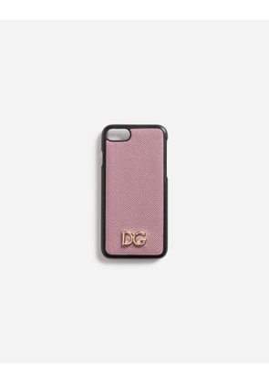 Dolce & Gabbana Hi-Tech Accessories - DAUPHINE CALFSKIN IPHONE 7 COVER WITH DG LOGO PINK