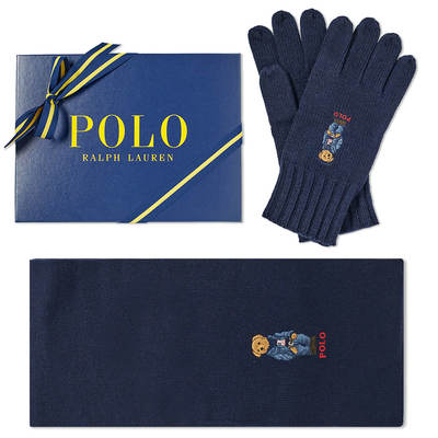 Polo Ralph Lauren  sc 1 st  MILAN STYLE & Polo Ralph Lauren Classic Bear Glove u0026 Scarf Gift Box Hunter Navy ...