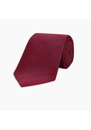 Slim Navy and Red Houndstooth Silk Tie