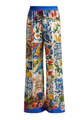 Dolce & Gabbana - Majolica And Floral Print Silk Twill Trousers - Womens - Blue Multi