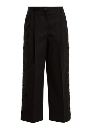 Dolce & Gabbana - Button Embellished Cropped Trousers - Womens - Black