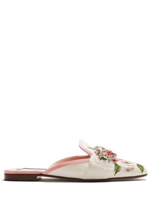 Dolce & Gabbana - Crystal Embellished Floral Print Loafers - Womens - White Multi