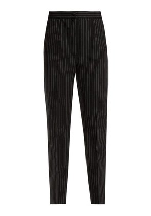 Dolce & Gabbana - High Rise Pinstriped Wool Blend Trousers - Womens - Navy White