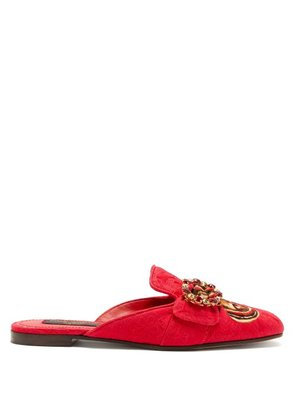 Dolce & Gabbana - Crystal And Butterfly Print Backless Loafers - Womens - Red Multi