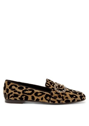 Dolce & Gabbana - Crystal And Leopard Print Jacquard Loafers - Womens - Leopard
